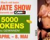 Jetzt anmelden: Private Show Wettbewerb April/Mai - 5000 Tokens zu gewinnen!
