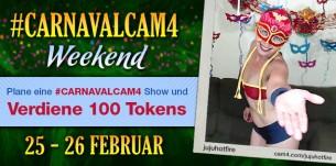 Plane eine Show im heißen Karnevals Kostüm und verdiene 100 Tokens