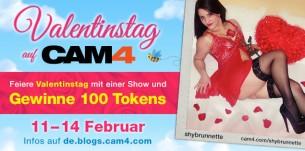 Übertrage eine Valentinstags Web Cam Show und verdiene 100 Tokens