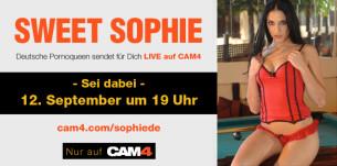 Sei dabei zur Live Pornostar Show von Sweet Sophie (12. September)